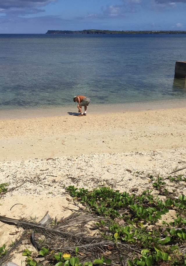 Day 12 - Bill Collecting his Guam Landing Beach Sand Sample