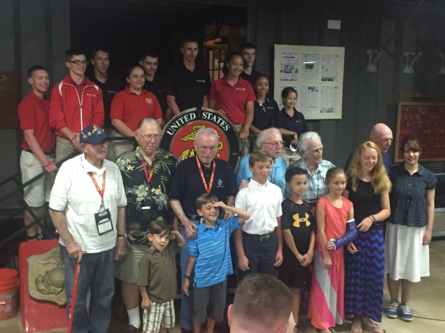 Day 12 - Final Banquet Group Photo of Six Iwo Jima Veterans, their Grand/Greatgrand Children and Marine Public Liaison .