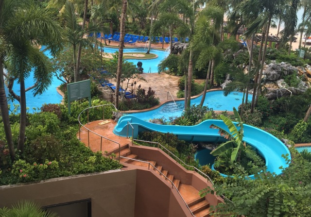 Day 10 - Huge Water Park at Outrigger Hotel ... Many Slides, Pools and Falls ... Just Above the Beach