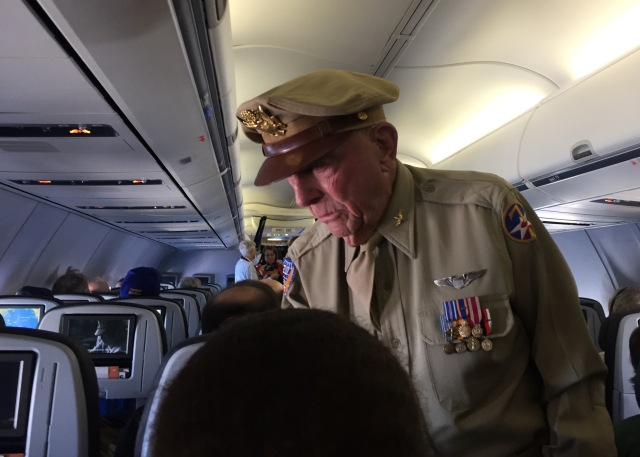 Day 11A - 92-Year Old P51 Mustang  Pilot who Served on Iwo Jima Walking the Aisle of our United Flight