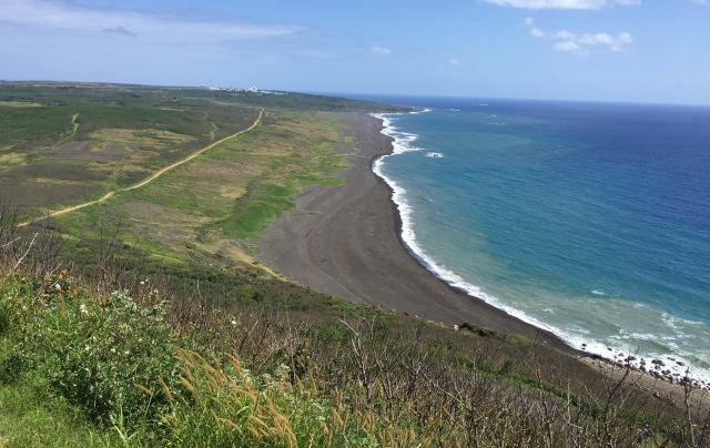 Day 11A - Miles of Exposed Black Lava Sand Beaches in the Shadow of Mt. Suribachi's Fortifications.