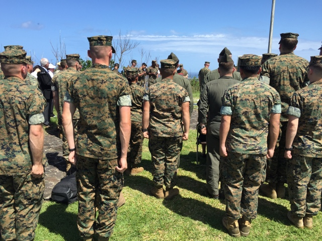 Day 11A - Marines Stand at Attention During In-Field Promotion Ceremony