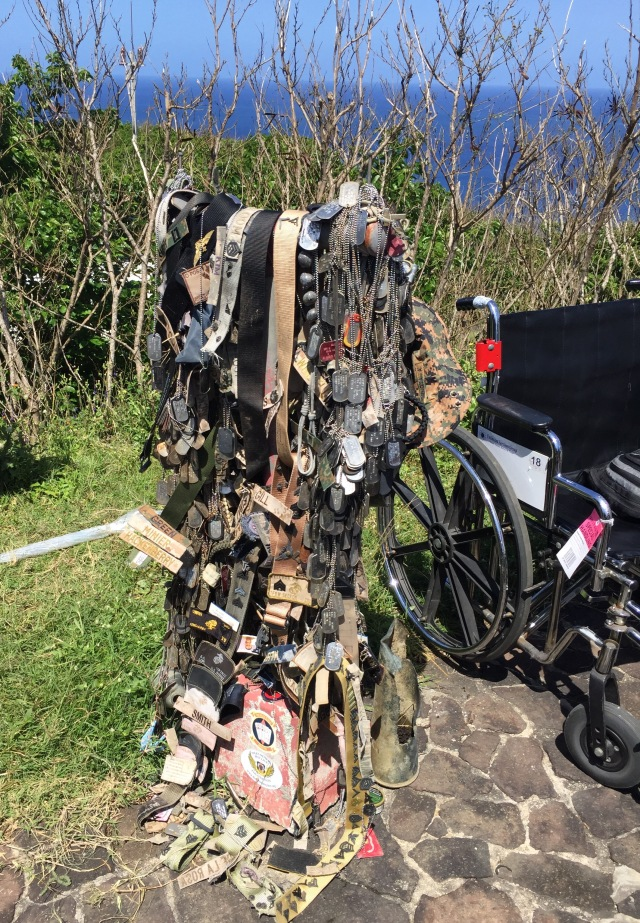 Day 11A - One of Two Marine Totems Covered with Dog Tags and other Memorabilia